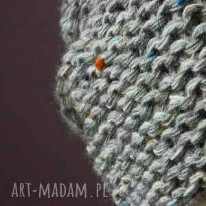 ciepła czapki szara czapa tweed (kolorowy) * na