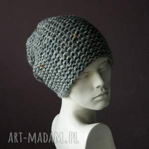 handmade czapki ciepła szara czapa tweed (kolorowy) * na
