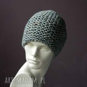 handmade czapki tweedeowa szara czapa tweed (kolorowy) * na