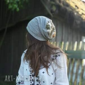 oryginalne czapki czapka szara wiosna etno kwiaty