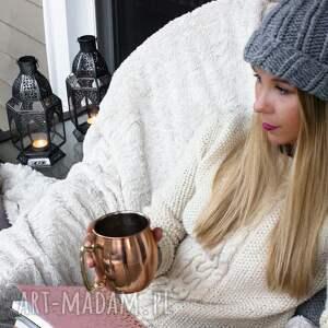 niepowtarzalne czapki zimowa szara czapka handmade