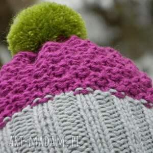szare czapki czapka szarość amarant czapa * pompon
