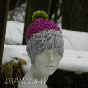 czapki kolorowa szarość amarant czapa * pompon