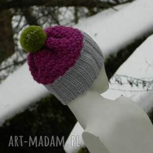 kolorowa czapki różowe szarość amarant czapa * pompon