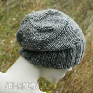 melanżowa czapki szare szarość z beżem * unisex czapka