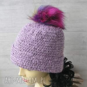 AlbaDesign czapki: szydełkowe lawenda melanż - czapka szydełkowa