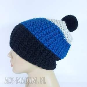 ręcznie zrobione czapki czapka trójkolorowa z pomponem