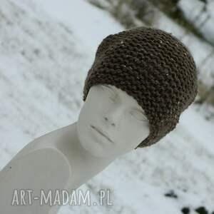 unikalne czapki ciepła tweed brązowy - na prawo * zimowa