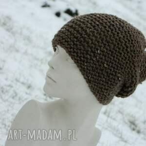 szare czapki nakrapiana tweed brązowy - na prawo * zimowa