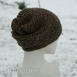 tweedowa czapki brązowe tweed brązowy - na prawo * zimowa