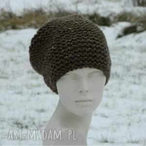 czapki ciepła tweed brązowy - na prawo * zimowa