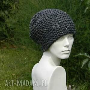 wyjątkowe czapki dziergana tweed stalowy - na prawo * zimowa