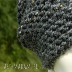 dziergana czapki szare tweed stalowy - na prawo * zimowa