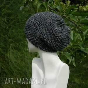 srebrne czapki zimowa tweed stalowy - na prawo