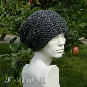 Aga made by hand czapki: Tweed stalowy - na prawo zimowa czapa - modna