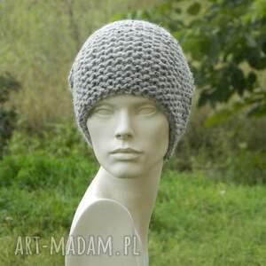 szare czapki ciepła tweed szary - na prawo * zimowa