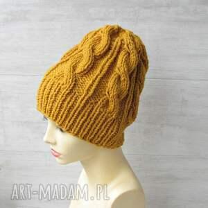 czapki unisex wełniana czapka musztardowa