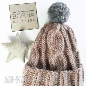brązowe czapki zima wełniana czapka w warkocze