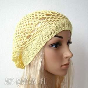 BARSKA wiosenno letni ażurowy beret jasnożółty czapka