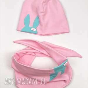 królik czapki wiosenny komplet czapka i chusta