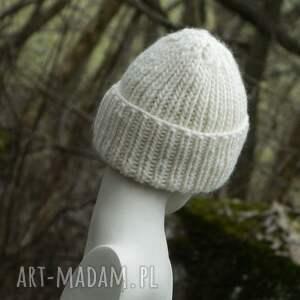 beżowe czapki ciepła 100% wool unisex ecru wywijana