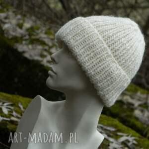 ciekawe czapki ciepła 100% wool unisex ecru wywijana