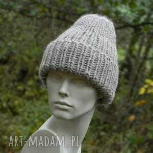 beżowe czapki wywijana 100% wool * unisex beżowa