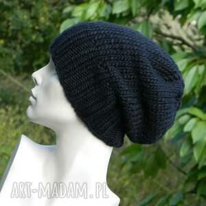 czarne czapki wełniana czapka gruba czapa unisex w kolorze czarnym