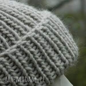 dziergana czapki 100% wool * unisex beżowa