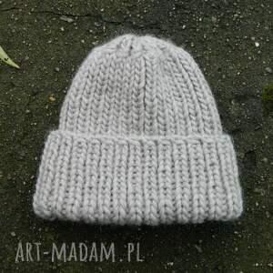 handmade czapki dziergana 100% wool * unisex beżowa