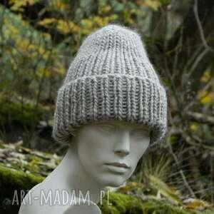 handmade czapki wywijana 100% wool * unisex beżowa