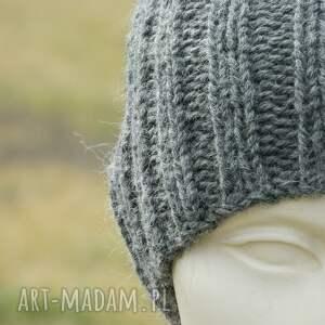 czapki dziergana 100% wool z moherem * czapka