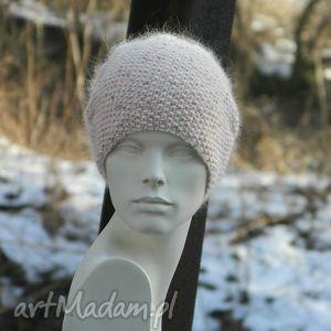 szare czapki różowa wyjątkowo ładna * 100% merino