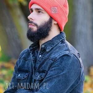 hand made czapki czapka dla mężczyzny wywijana dwustronna logo