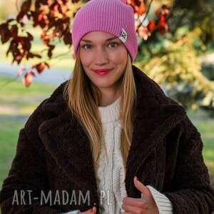 czapki czapka różowa wywijana dwustronna logo kolorowe