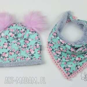 różowe czapki apaszka zestaw zimowy czapka, chusta