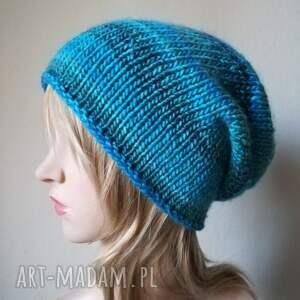 ręcznie zrobione czapki prezent zima w turkusach czapka