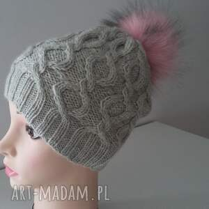 handmade czapki czapka zimowa z dużym pomponem