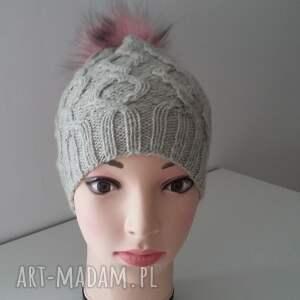 handmade czapki zima zimowa czapka z dużym pomponem