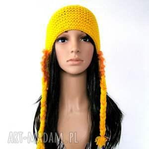 pomarańczowe czapki czapka żółta z nausznikami