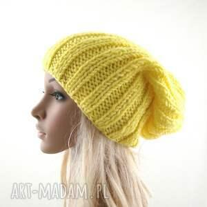 zimowa czapki żółta czapka damska
