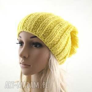 czapki zimowa żółta czapka damska