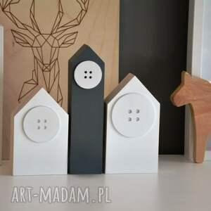 trendy dekoracje dom zestaw 3 drewnianych domków z okienkiem (2