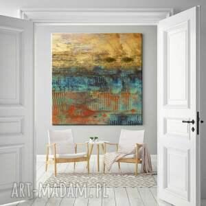 dekoracje: Abstrakcja ze złotem - abstrakcyjne obrazy do modnego salonu - Hand Made modna