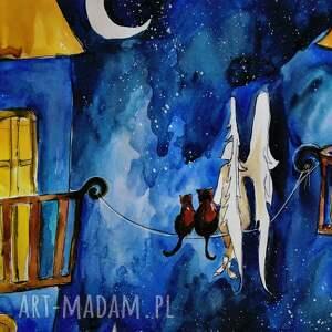 intrygujące dekoracje anioł akwarela i koty artystki