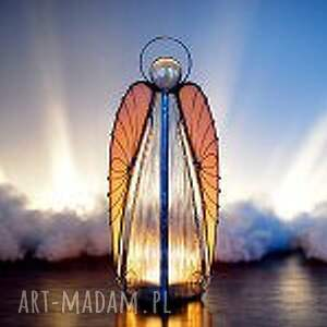 srebrne dekoracje anioł ariel lampion