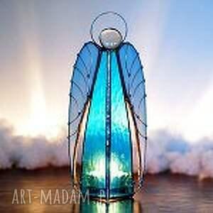 niebieskie dekoracje anioły anioł lampion haniel