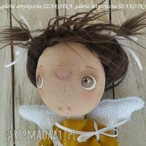 lalka aniołek żółte - dekoracja tekstylna