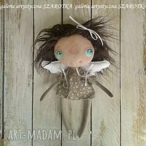lalka aniołek dekoracje brązowe - dekoracja tekstylna
