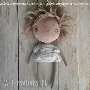 lalka aniołek brązowe ręcznie wykonana lala - z doczepianymi